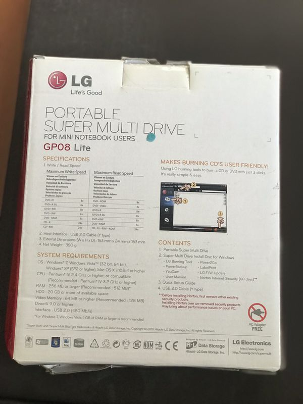 Lg portable multi drive Mini notebook users GPO8 lite