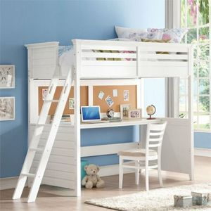 ACME Furniture Lacey Twin Loft Bed with Desk in White for Sale in Miami, FL