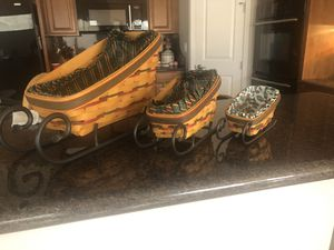 Longaberger Dash Away sleigh baskets for Sale in Laveen Village, AZ
