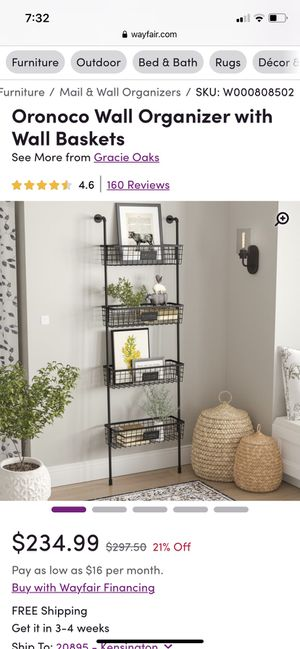 Mounted basket shelving unit. New in box for Sale in Kensington, MD