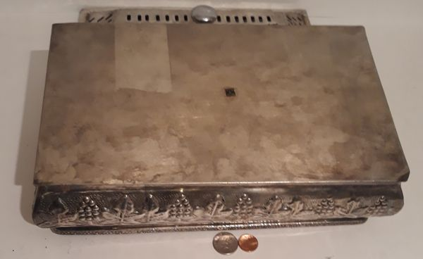 "Vintage Metal Silver Storage Box, Container, Large Size, 14"" x 7"" x 5"", Metal Box, Handles, Home Decor, Table Display, Shelf Display"