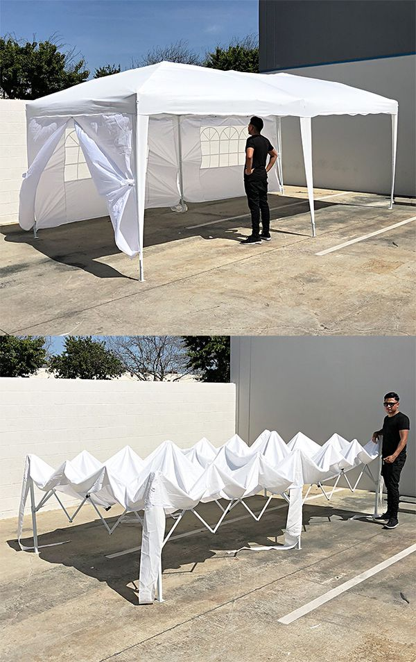 New $170 Easy Popup 10x20 ft EZ Pop Up Canopy w/ 6 Side Walls, Carrying Bag, White