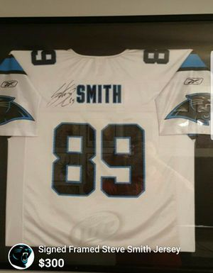 Signed Framed Steve Smith Panthers Jersey for Sale in Charlotte, NC