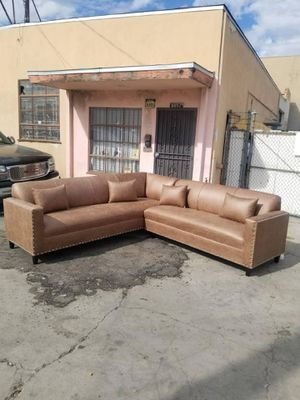 NEW 9X9FT CAMEL LEATHER SECTIONAL COUCHES for Sale in Lakewood, CA