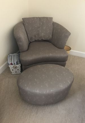 Copenhagen brand gray silk chair and matching ottoman for Sale in Scottsdale, AZ