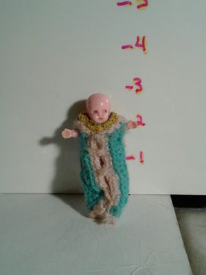 Antique Mini Hard Plastic Baby Doll Handmade Clothes and Baby Wrap for Sale in Folsom, CA