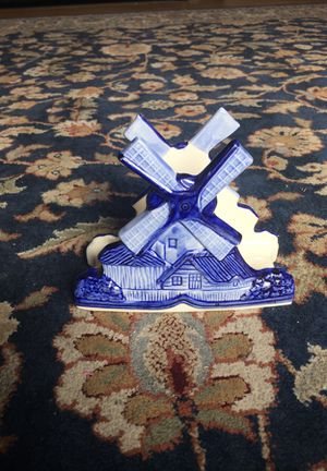 Napkin Holder with Windmill Delft Blue HandPainted Delft's Blanco Porcelain or Ceramic Cobalt for Sale in Leavenworth, WA