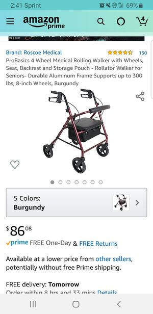 ProBasics 4 Wheel Medical Rolling Walker with Storage Pouch - Rollator Walker for Seniors Supports up to 300 lbs, 8-inch Wheels, Burgundy for Sale in Clovis, CA