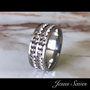 Stainless Steel Double Row CZ Ring Sizes In Description for Sale in Fresno, CA
