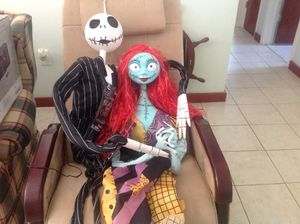 Nightmare Before Christmas Large Jack & Sally Hanging Decor With Lights & Sound 6 Ft/5Ft Tall Brand New for Sale in Tarpon Springs, FL