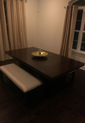 Wooden dining room table with two benches for Sale in Gambrills, MD