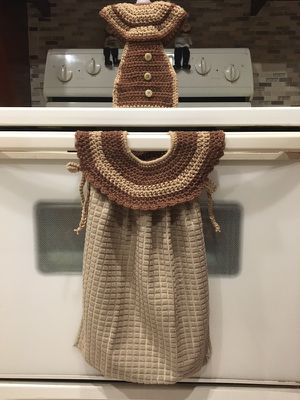 Kitchen towel with crochet collar and dishwashing liquid for Sale in Hialeah, FL