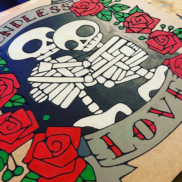Endless Love - Eternal Love - Skeleton Love - Wall Sign - Carved MDF wood - Hand Painted