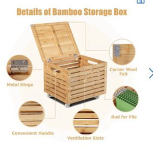 Bamboo Rolling File Storage Organizer Box Wood Hanging Filing&Storage Office Box for Sale in Commerce, CA