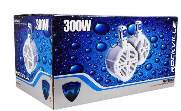 Rockville 300 watts marine water proof boat pair speakers brand new new in the box perfect condition never used in original packaging