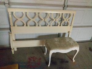 Vintage bed frame & vanity stool for Sale in Tulsa, OK