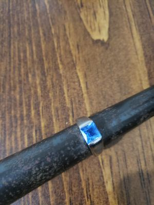 Silver ring square blue stone for Sale in Toledo, OH