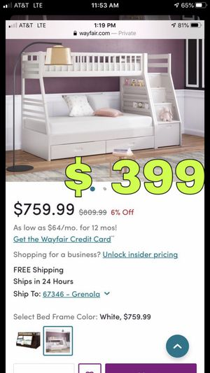 Beautiful new Pierre Twin over Full bunk bed only 399$!!! Original price 810$!!! Sale price 760$!!! for Sale in San Leandro, CA