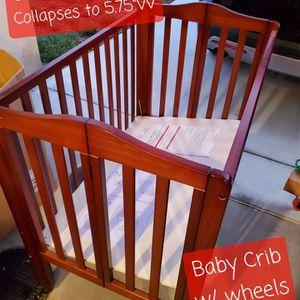 Portable Baby Crib w/ Mattress for Sale in Escondido, CA