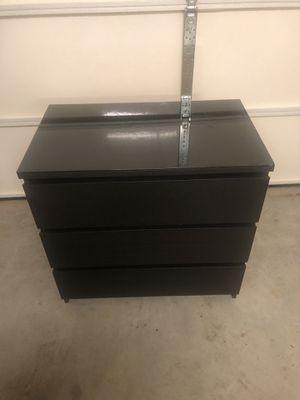 Ikea Malm Black/Brown 3 draw dresser for Sale in Ashburn, VA