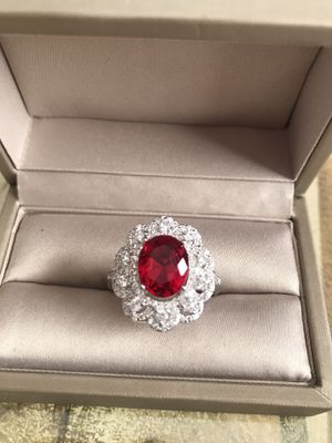Sterling silver Ruby CZ Statement Ring Size 10 for Sale in Addison, IL