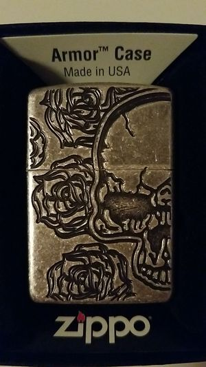 Zippo skull Rose armor antique silver plate 28988 for Sale in Los Angeles, CA