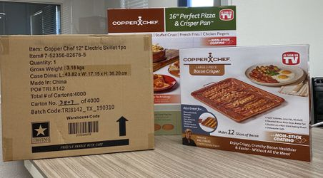 Copper Chef cookware pizza pan, bacon pan, and electric skillet for Sale in Anaheim,  CA