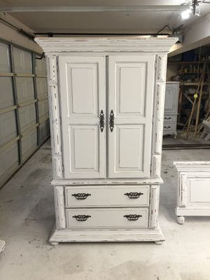 Solid wood farmhouse cottage shabby chic rustic vintage armoire dresser cabinet for Sale in Southlake, TX
