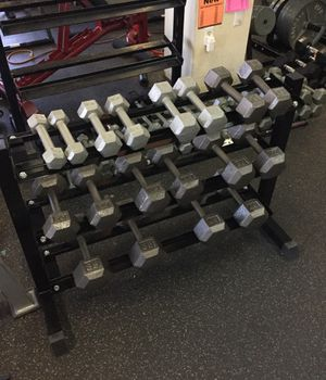 Hex dumbbells set 5 to 40 pounds with three tier dumbbell rack for Sale in Phoenix, AZ