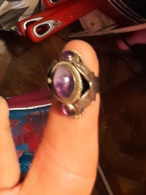 mexico sterling silver amethyst poison ring Has secret compartment for Sale in Robinson, TX