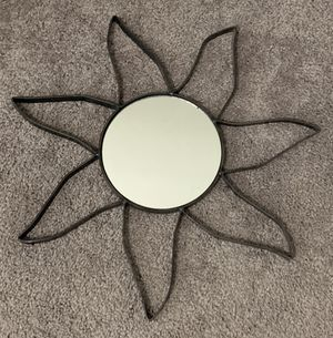 "VINTAGE WROUGHT IRON WALL HANGING SUN MIRROR HOME DECOR ACCENT 16"" for Sale in Chapel Hill, NC"