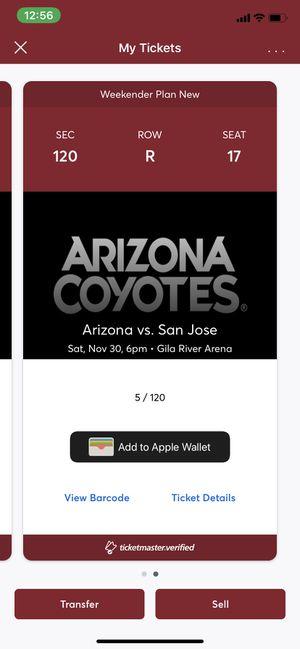San Jose Sharks vs Arizona Coyotes 2 Tickets for Sale in Scottsdale, AZ