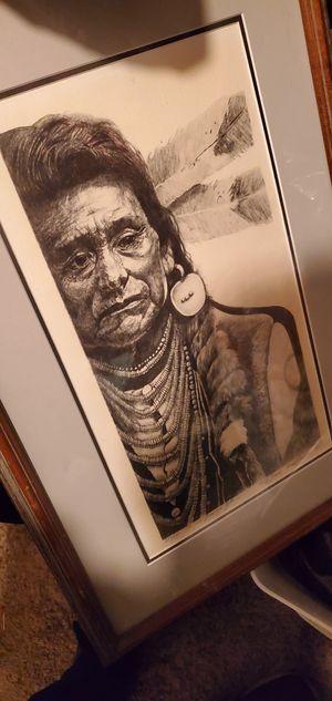 Chief Joseph Portrait Pencil Drawing 1985 for Sale in Escondido, CA