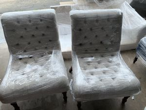 Pair of oatmeal tufted accent chairs for Sale in San Diego, CA
