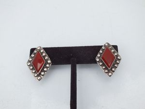 Vintage Silver Diamond Shape Earrings With Beautiful Red Accents, Stamped 925 for Sale in Dayton, OH