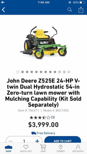 New John Deere Z525E 24-HP V-Twin Dual Hydrostatic 54-Inch Zero Turn Lawn Mower for Sale in Dallas, TX