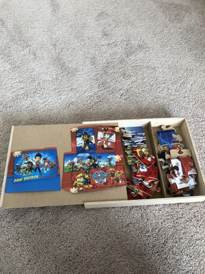 Paw Patrol 5 Wood Puzzles in Wood Storage Box for Sale in Newcastle, WA