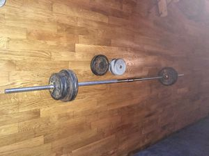 Weights set weight with Bar 82 lbs exercise for Sale in Tacoma, WA