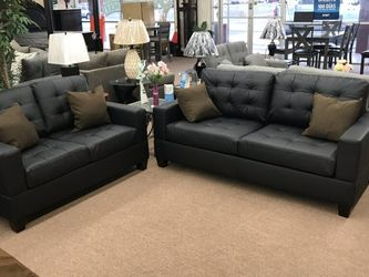 New Black Sofa And Loveseat....2pc. Set.....$399.......Instock......2 Colors .... for Sale in Glendale,  AZ