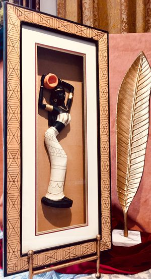 Decorative wall art framed wood sculpture - African Woman H25xW12xD2.5 inch Lbs 4.4 for Sale in Chandler, AZ