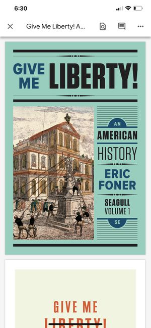 Give Me Liberty! By Eric Foner Vol. 1 PDF ONLINE TEXTBOOK for Sale in Fullerton, CA