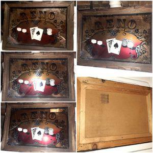Vintage RENO Las Vegas (Craps, Blackjack) Retro Game Room Casino Mirror Sign for Sale in Puyallup, WA