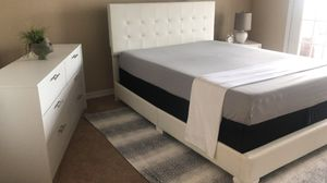 New white queen bed frame dresser chest and one nightstand mattress is not included for Sale in Tampa, FL