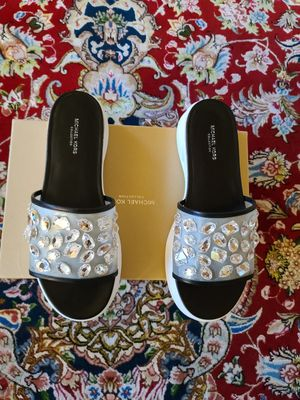 MICHAEL KORS COLLECTION CRYSTAL EMBELLISHED RUNWAY SLIDES for Sale in Seattle, WA