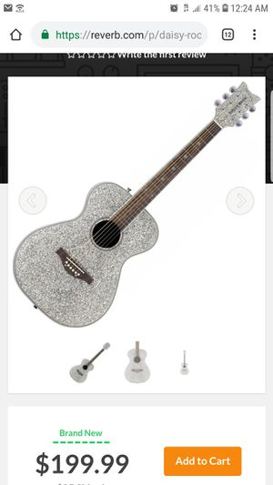 Daisy Rock silver glitter acoustic guitar dr6206 and Stage One Access AB1SA1 carry case for Sale in Sudley Springs, VA