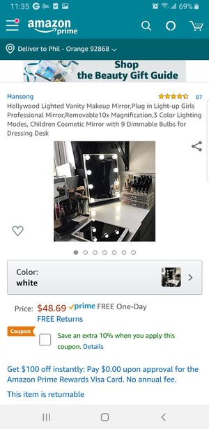 "L15 - Hollywood Lighted Vanity Makeup Mirror, 9.8""×14"" for Sale in Garden Grove, CA"