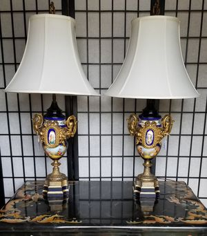 Stunning Pair of Antique Sèvres Gilded Urn Lamps for Sale in Wheat Ridge, CO