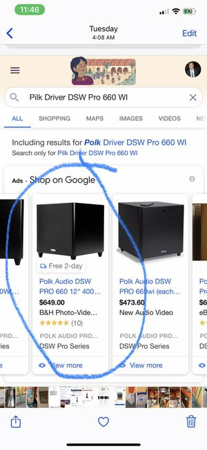 Polk Audio DSW PRO 660 Subwoofer - Driver only, Unopened box for Sale in Huntington Beach, CA