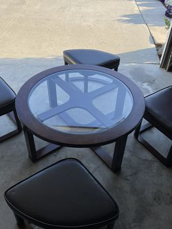 Low Glass Table With Chairs That Fit Under for Sale in Huntington Beach,  CA