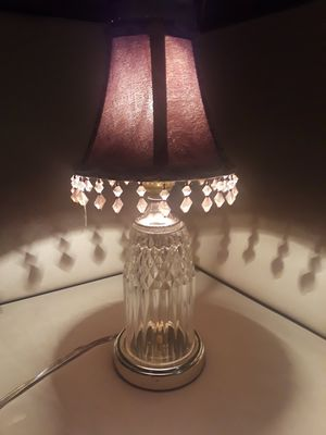 "CRYSTAL LAMP SMALL WITH SHADE STANDS 14"" for Sale in Oklahoma City, OK"